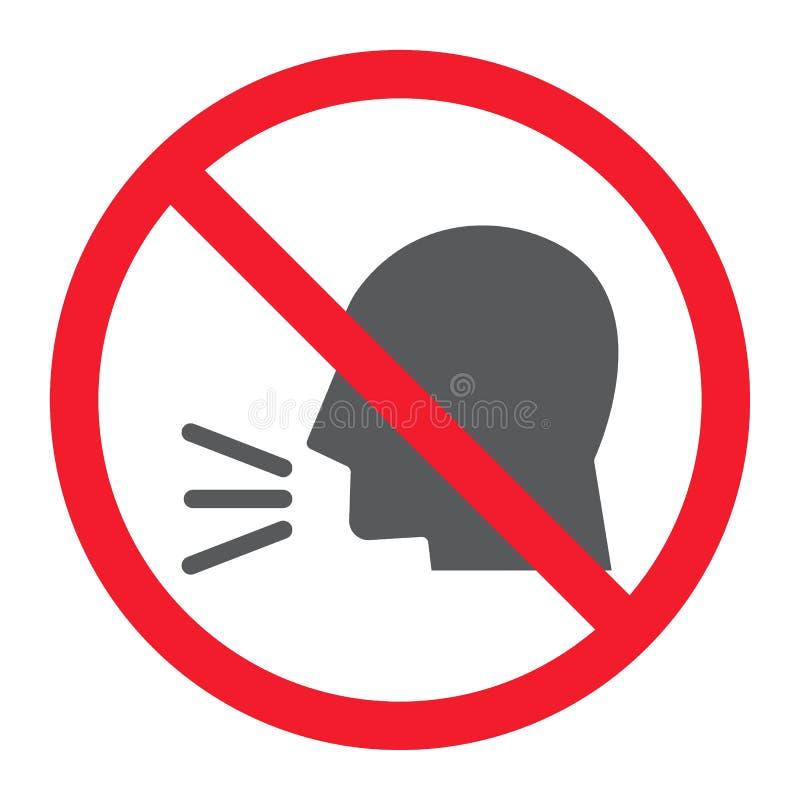 Tenga l'icona di glifo di silenzio, proibizione e severo illustrazione vettoriale