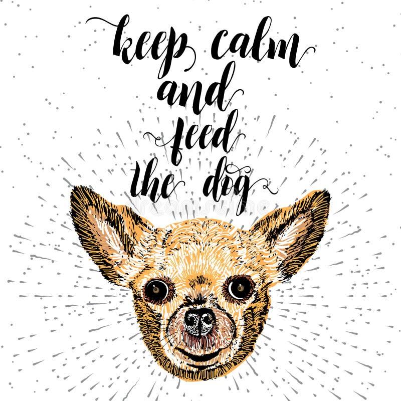 Tenga la calma ed alimenti il cane illustrazione vettoriale