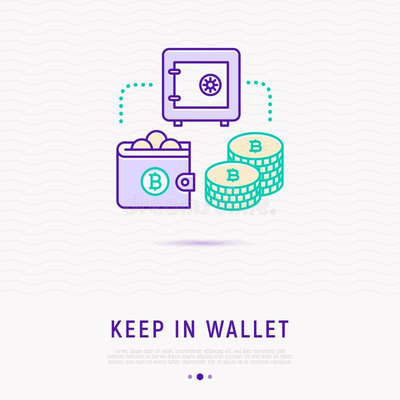 Tenga la valuta nel concetto virtuale del portafoglio illustrazione di stock