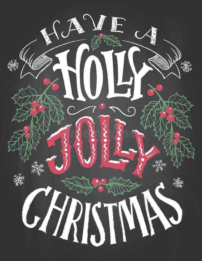 Tenga letras alegres de la mano de la Navidad del acebo libre illustration