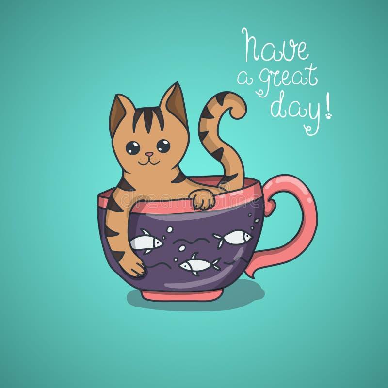 Tenga un garabato lindo del gato del día agradable stock de ilustración