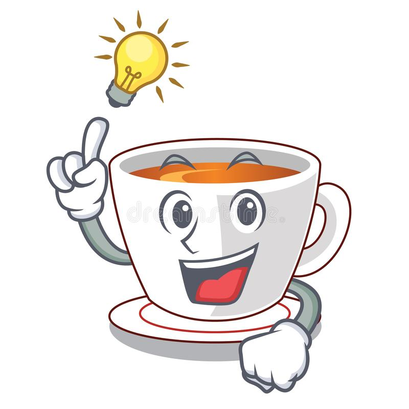 Tenga un té de la menta de la idea en una taza de la historieta ilustración del vector