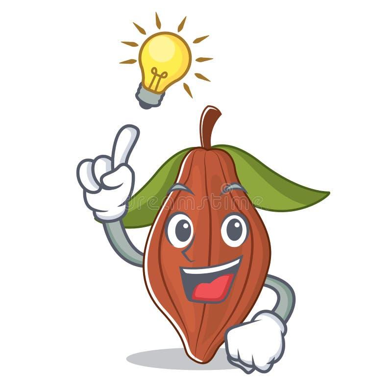 Tenga una historieta de la mascota de la haba del cacao de la idea ilustración del vector