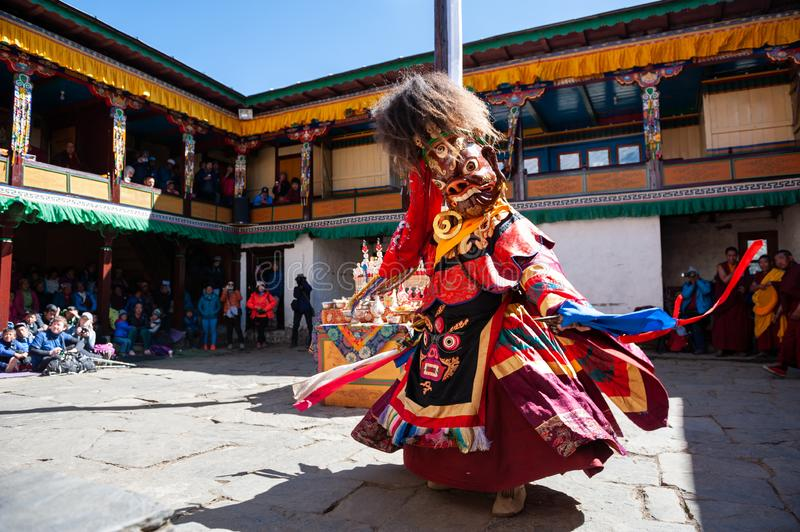 The monks perform religious masked buddhistic dance during the Mani Rimdu festival in Tengboche Monastery royalty free stock photos