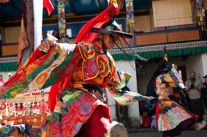 The monks perform religious masked buddhistic dance during the Mani Rimdu festival in Tengboche Monastery stock image
