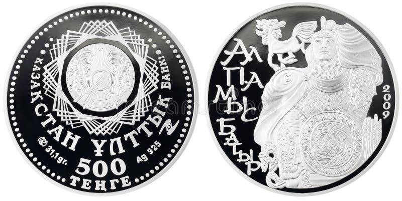 Tenge cobrable de la moneda de plata 500 de Kazajistán fotografía de archivo libre de regalías