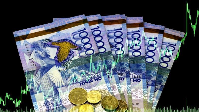 Tenge spadek lub wzrost Analiza waluty pary tenge dolar Rynki walutowi _ kryzys deprecjacje Sztuka na gie?da papier?w warto?ciowy fotografia royalty free