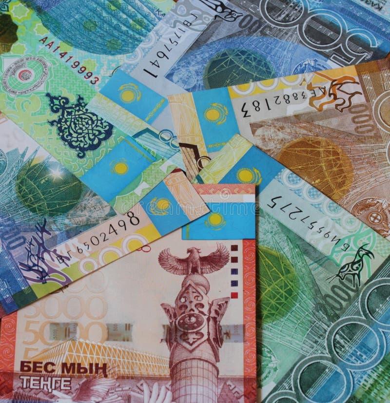 Tenge van Kazachstan achtergrond stock afbeeldingen