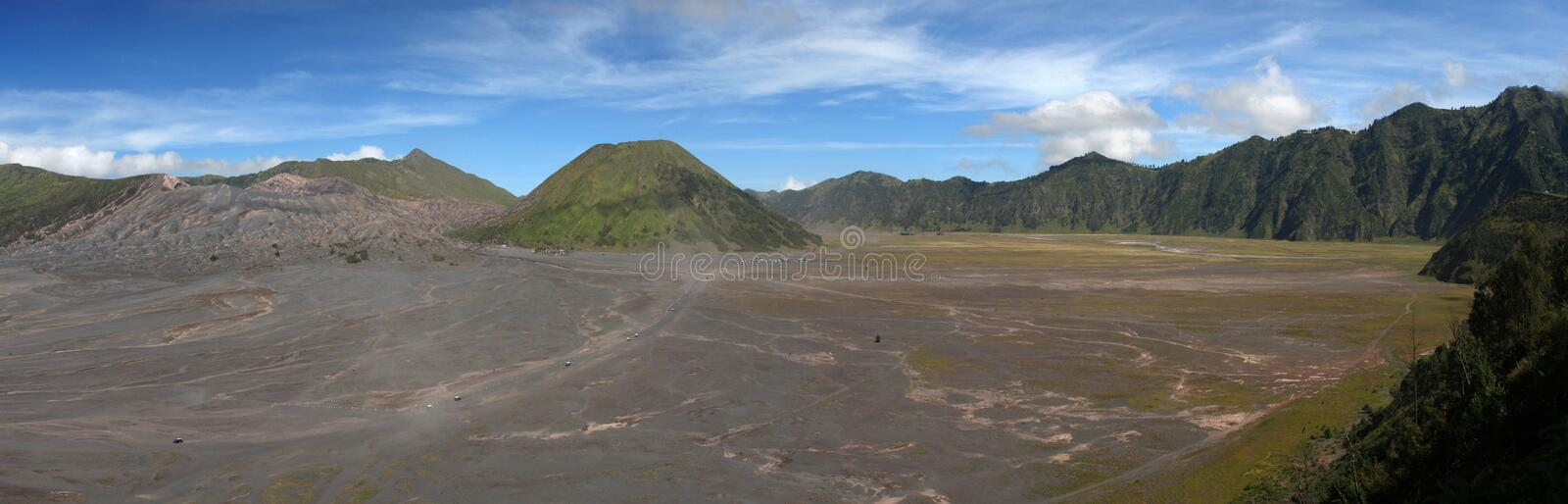 Tengger caldera. Volcanic landscape of National park Bromo Tengger Semeru in east Java. View at ancient Tengger caldera within which four new craters were stock image