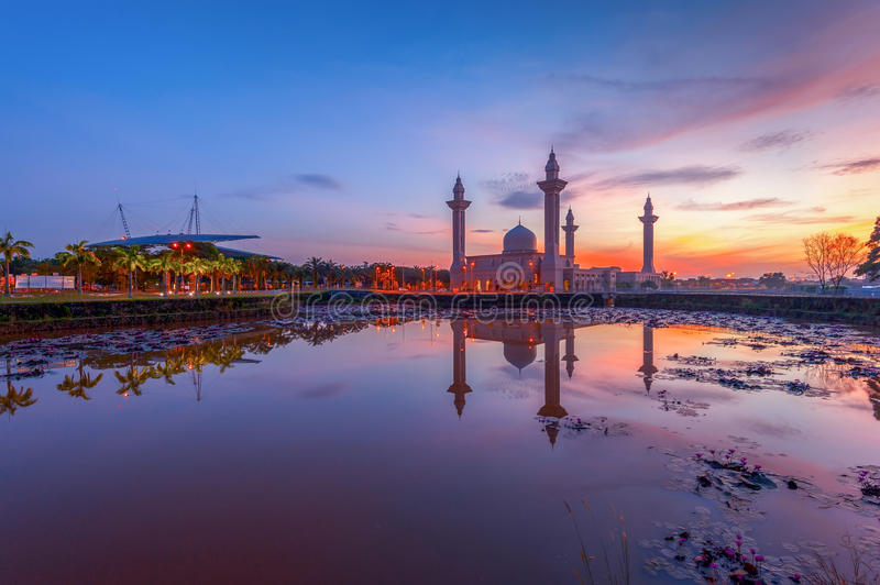 Tengku Ampuan Jemaah Mosque at Sunrise, Bukit Jelutong, Shah Alam Malaysia. During a sunrise royalty free stock photo