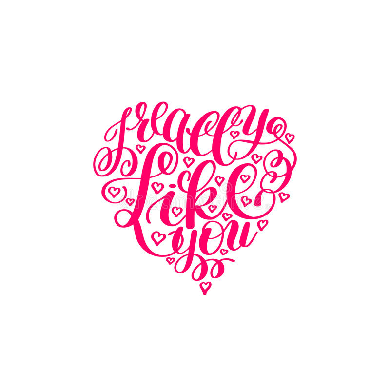 Tengo gusto realmente de usted La letra de amor en forma del corazón, manda un SMS a la mano inglesa ilustración del vector