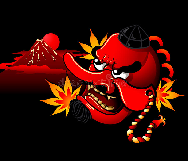 Tengu mask vector illustration