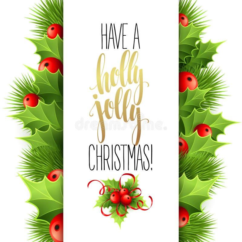 Tenha Holly Jolly Christmas Vetor da rotulação ilustração do vetor