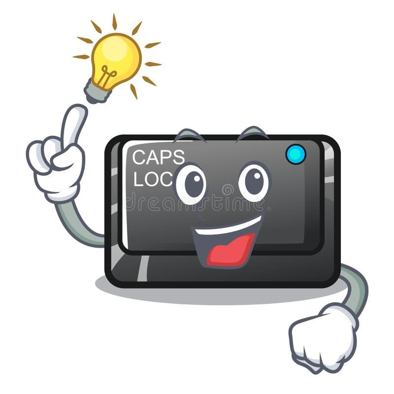 Tenha um botão do capslock da ideia isolado com os desenhos animados ilustração stock