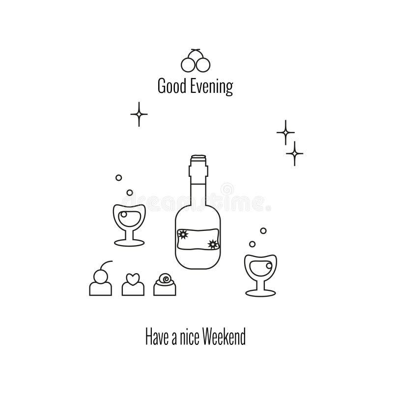Tenha um fim de semana agradável, boa noite nGlasses e garrafa do vinho ou da aguardente, doces, estrelas ilustração royalty free