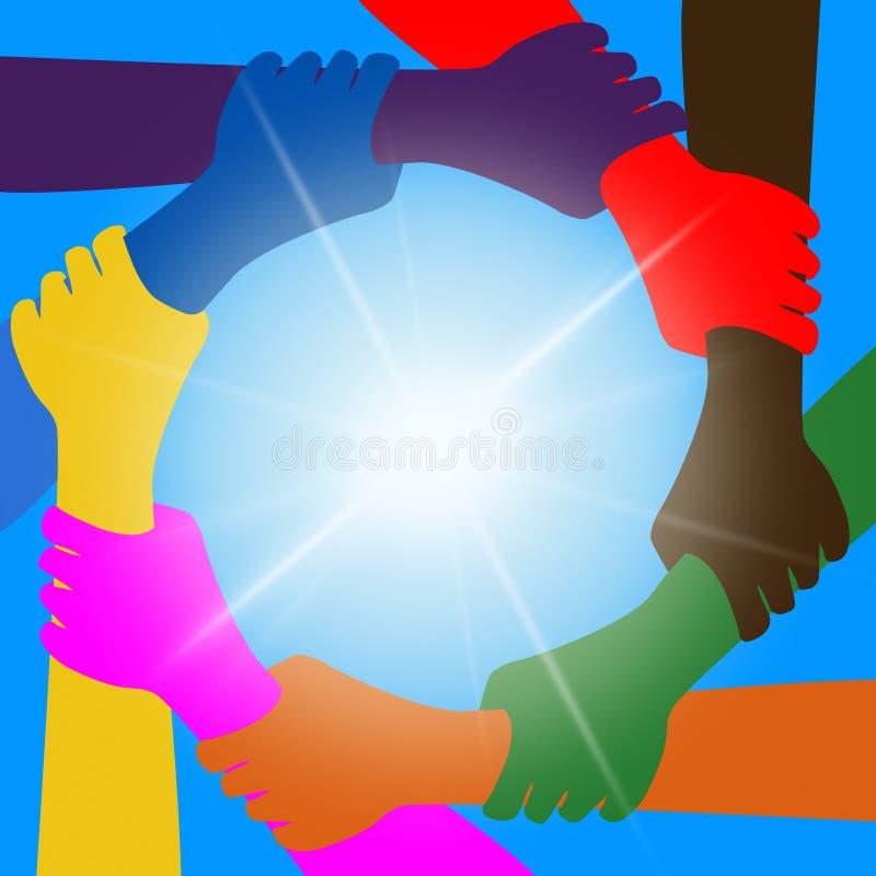 Tenir des mains indique des amis et l'unité d'unité illustration libre de droits