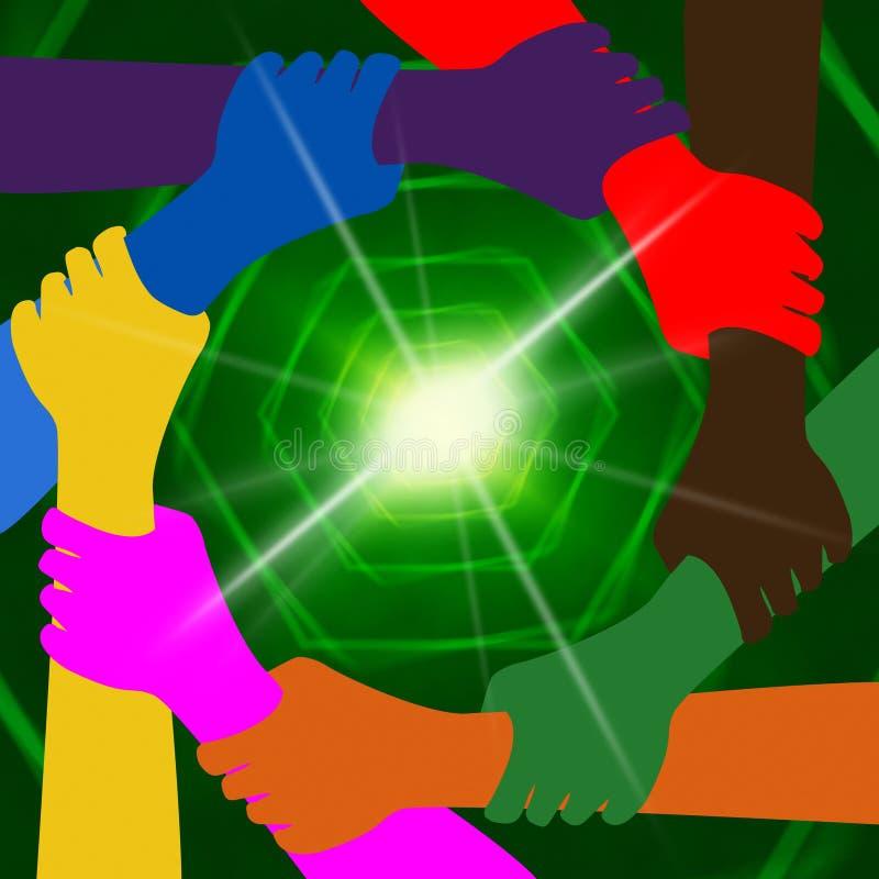 Tenir des mains indique la mondialisation ensemble et la terre illustration de vecteur