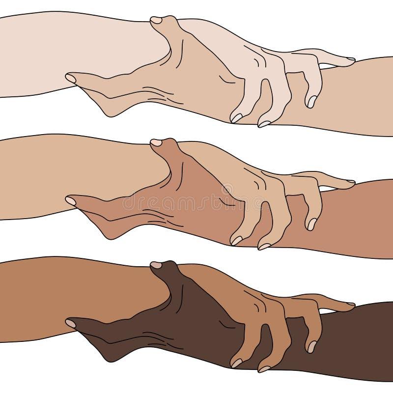 Tenir des mains montrant l'unité Égalité multinationale Équipe, associé, concept d'alliance icône de relations Illustration de ve illustration libre de droits