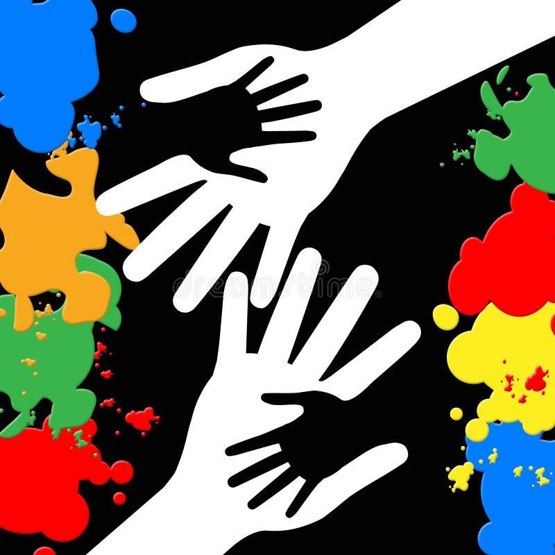 Tenir des mains représente des couleurs et le collage de peinture illustration libre de droits