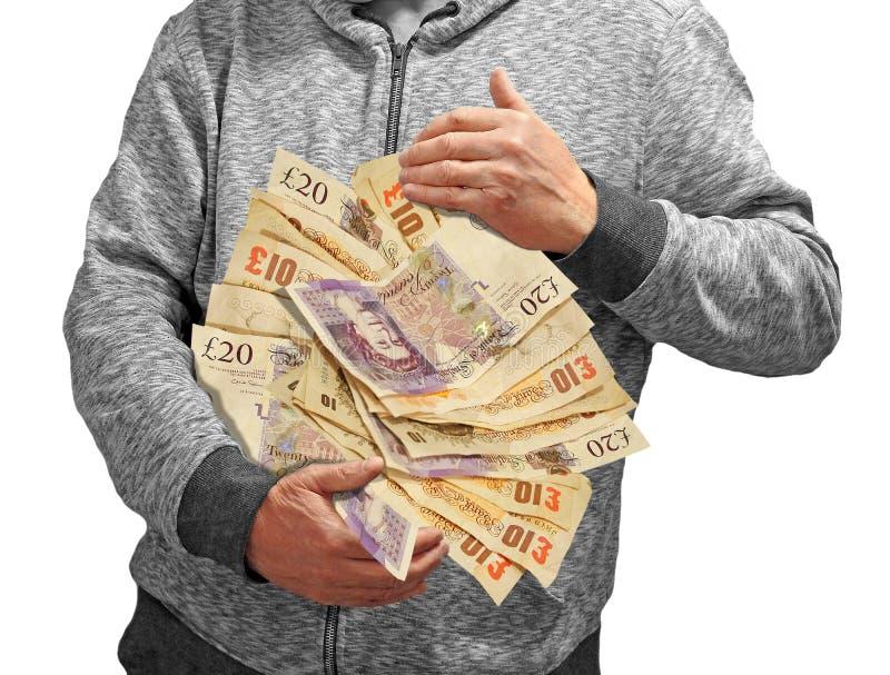 Tenir des ordres de paiement d'argent dans des ventis de bras images stock