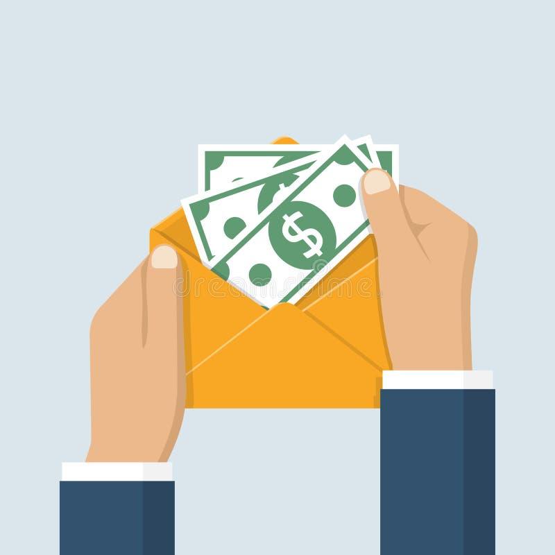 tenir l'enveloppe avec l'argent liquide illustration libre de droits