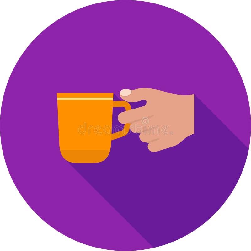 Tenir la tasse de café illustration de vecteur