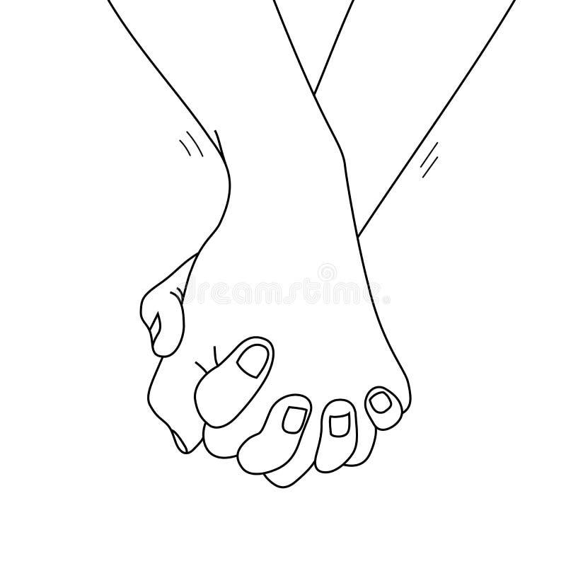 Tenir le contour de mains l'illustration gribouille tiré par la main, illustration stock