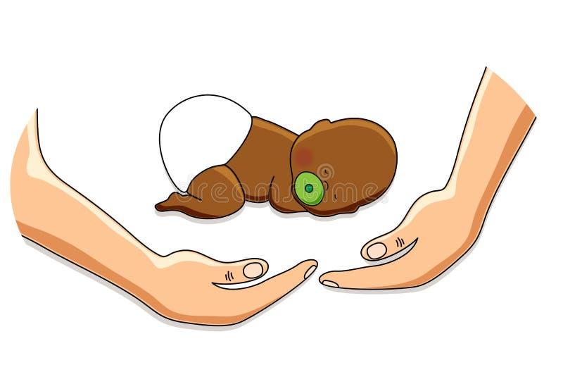 Tenir le personnage de dessin animé mignon du bébé dans des mains heureuses illustration stock