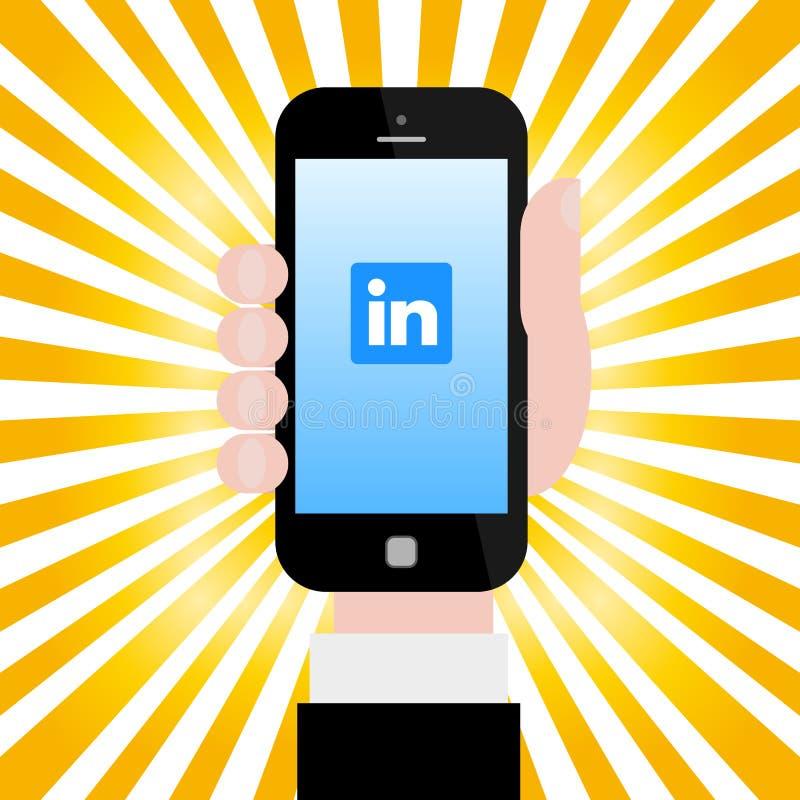 Tenir le smartphone avec le logo de Linkedin illustration de vecteur