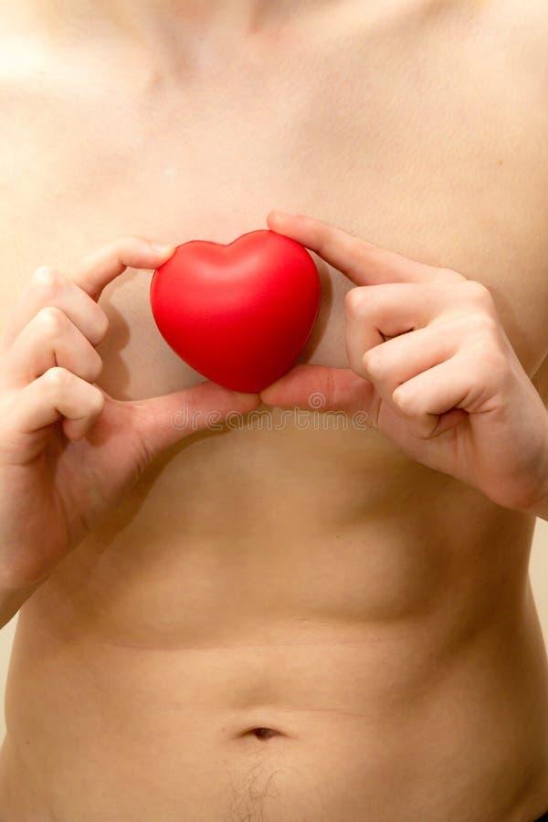 Tenir un coeur rouge contre un torse masculin nu photographie stock