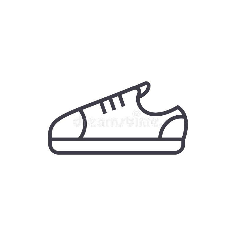 Tenisówka butów wektoru linii ikona, znak, ilustracja na tle, editable uderzenia ilustracji