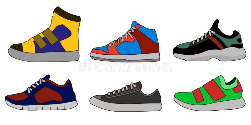 Tenisówka buta koloru ikony piktograma symbolu Płaskiej ilustraci Ustalona kolekcja wektor royalty ilustracja