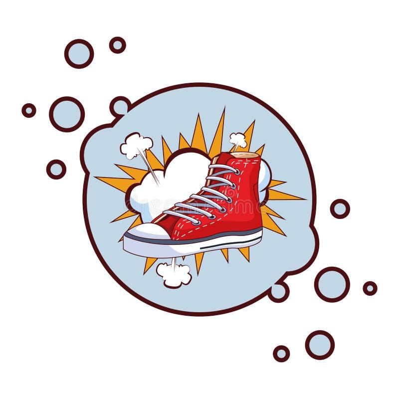 Tenisówka i obłoczna round ikona ilustracja wektor