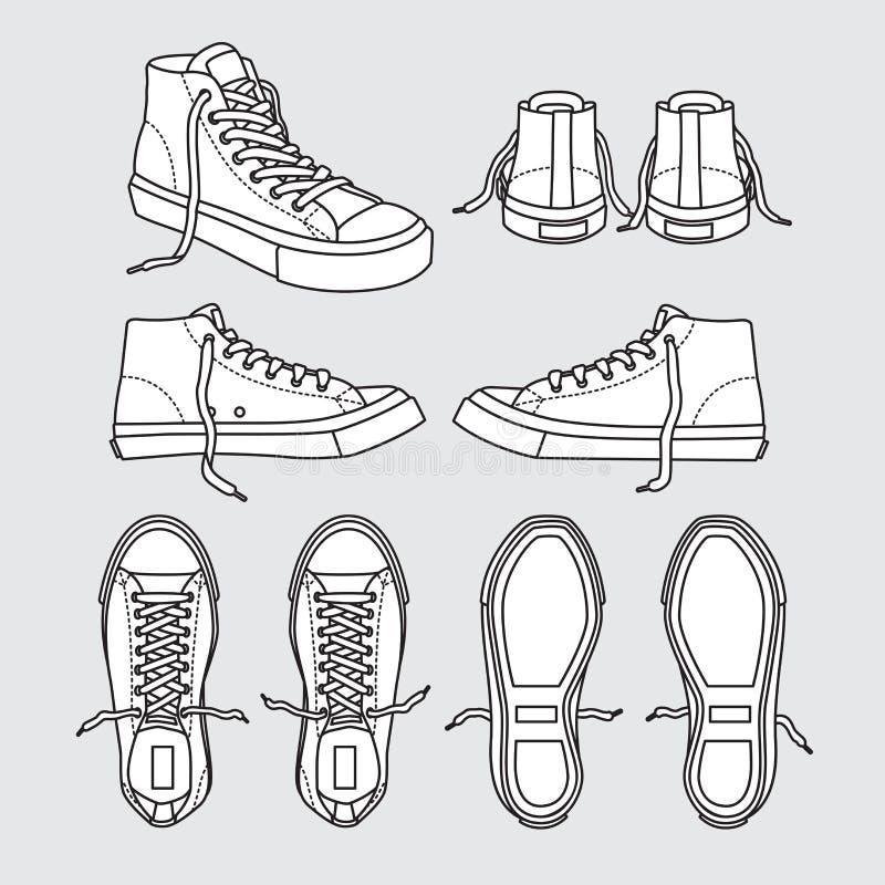 Tenisówka kuje brezentowej sport odzieży nożną odzież trenuje działającego buta ilustracyjną kreskówkę Czarny i biały ilustracja wektor