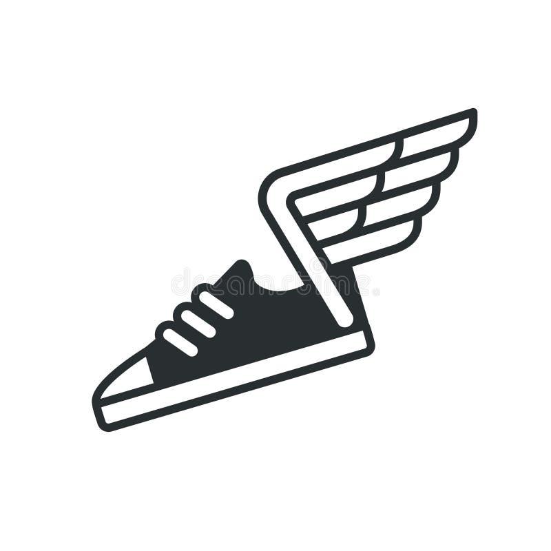 Tenisówka z skrzydło ikoną ilustracja wektor