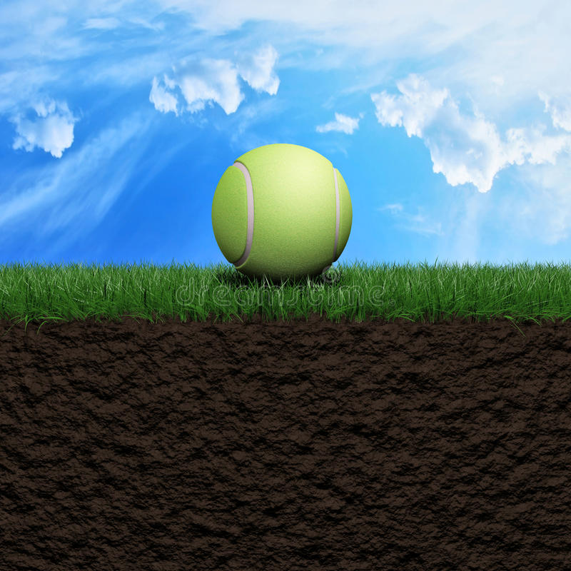 Tenis ball background. Tenis ball on grass background 3d illustration vector illustration