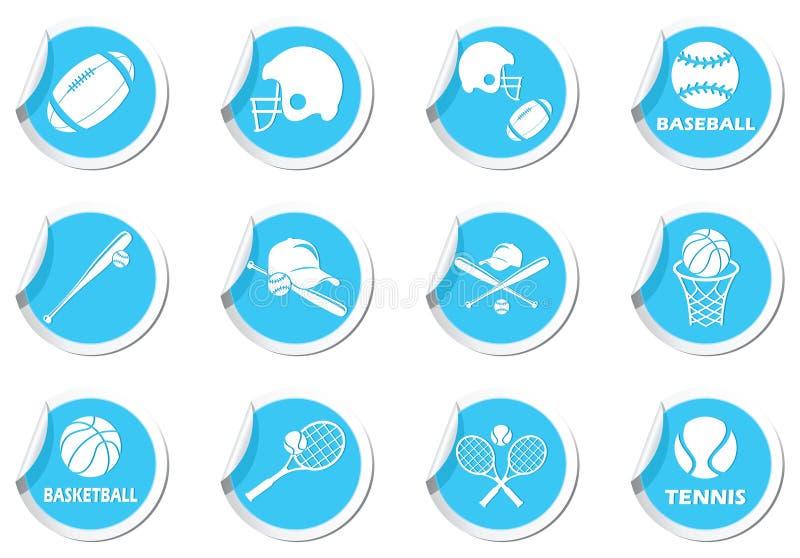 Tenis, baseball, futbol amerykański ikony ustawiać ilustracji