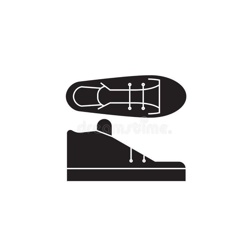 Tenis beschuht schwarze Vektorkonzeptikone Tenis beschuht flache Illustration, Zeichen lizenzfreie abbildung