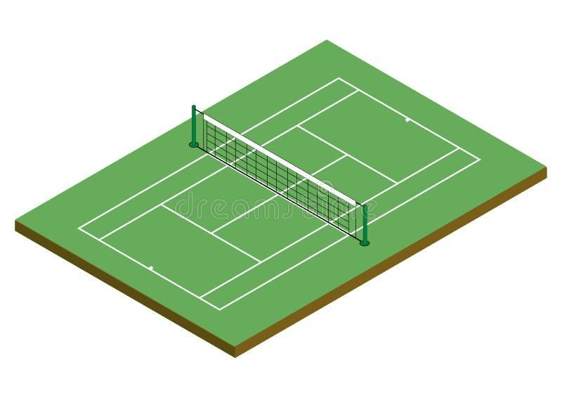 Tenis Cour - superfície da argila [isométrica] ilustração royalty free