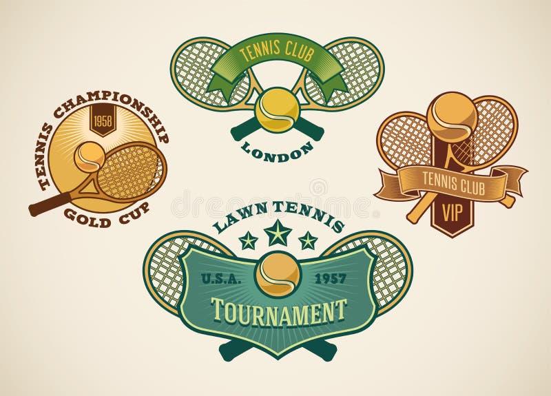 Tenis etykietki ilustracja wektor