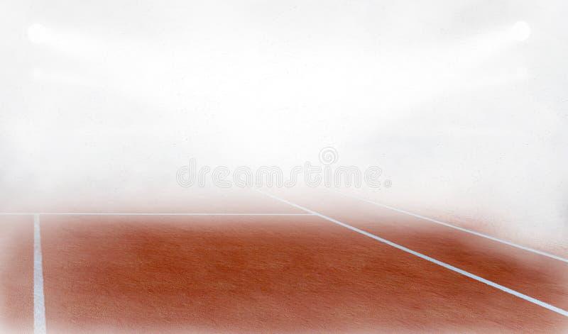Tenis-Gericht im Nebel 3d übertragen vektor abbildung