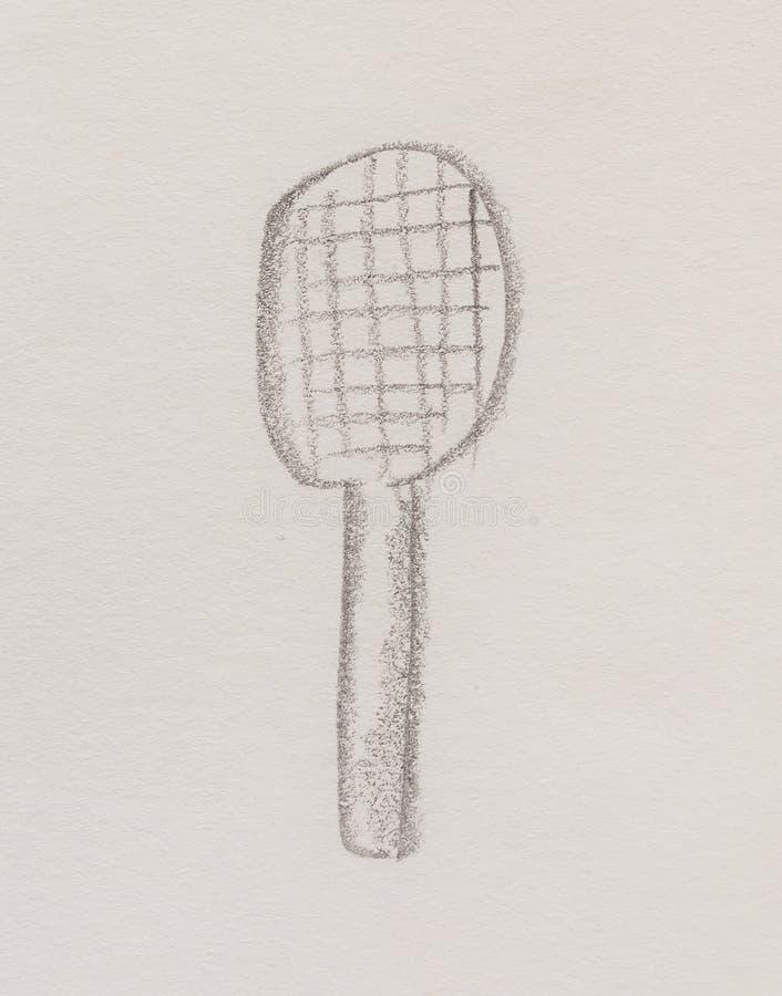 Tenis-Schläger, Bleistift-Zeichnung auf Papier lizenzfreie abbildung