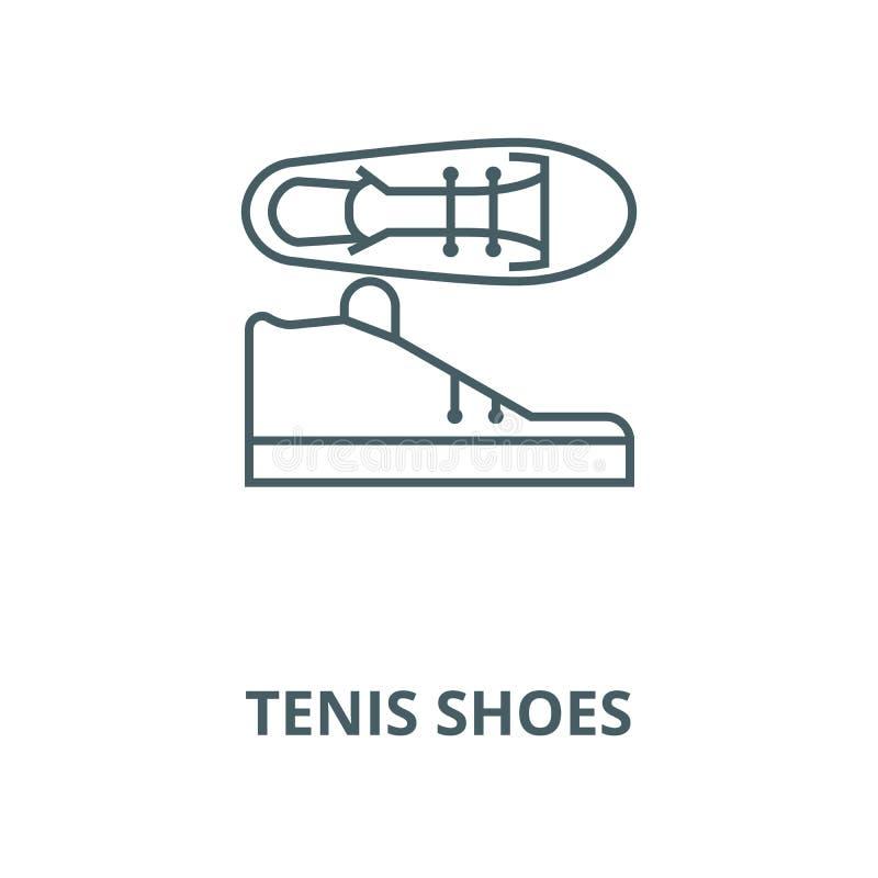 Tenis-Schuh-Vektorlinie Ikone, lineares Konzept, Entwurfszeichen, Symbol stock abbildung