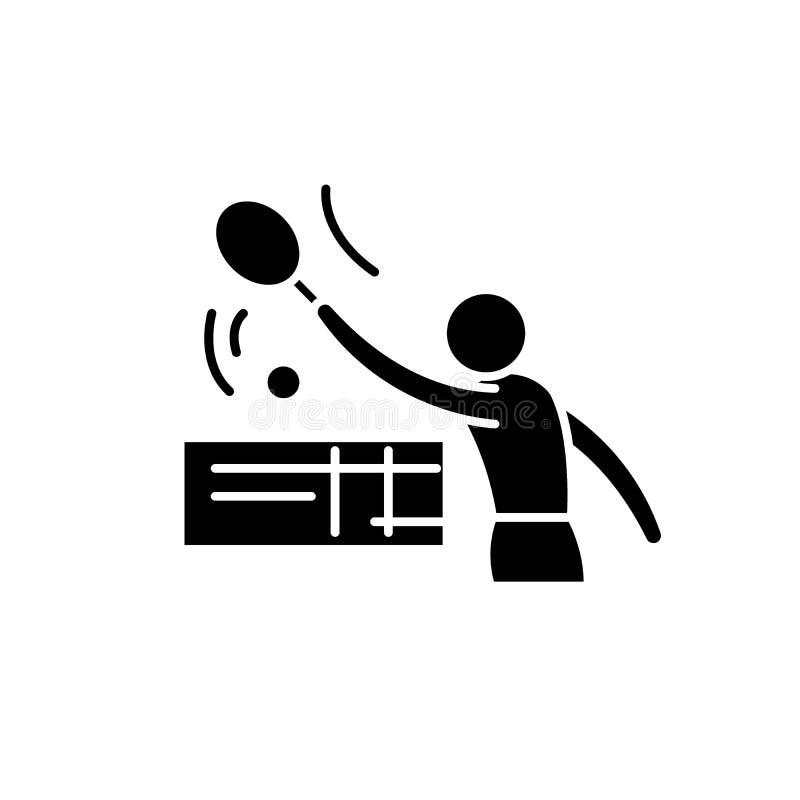 Tenis-Schwarzikone, Vektorzeichen auf lokalisiertem Hintergrund Tenis-Konzeptsymbol, Illustration vektor abbildung