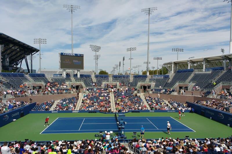 Tenis, US Open 2017, Roger Federer, New York City, Nueva York, los E.E.U.U. fotografía de archivo