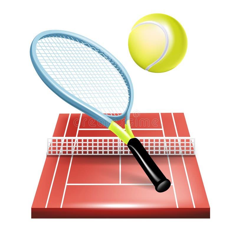 Tenisa sąd z kantem i piłką ilustracji
