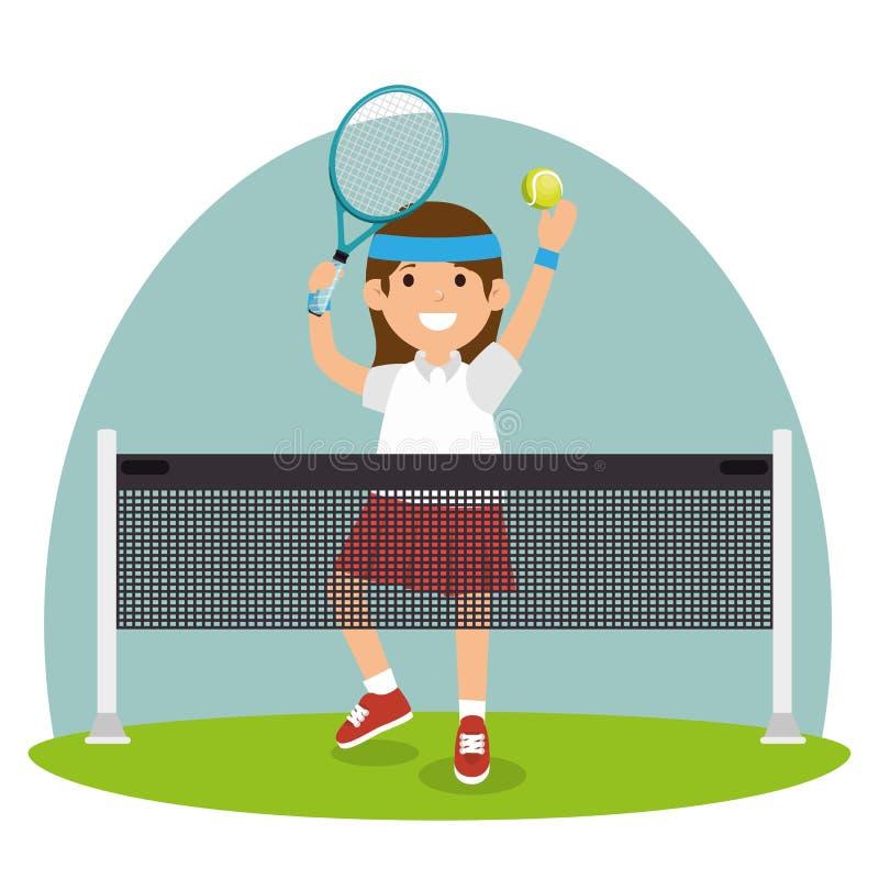Tenisowa dziewczyna skacze sąd sieć ilustracja wektor