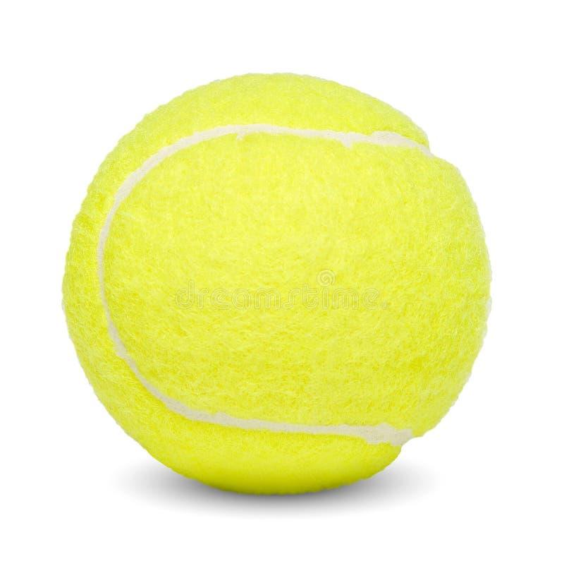 Tenisowa piłka Biały odosobniony tło Zakończenie Boczny widok zdjęcie stock