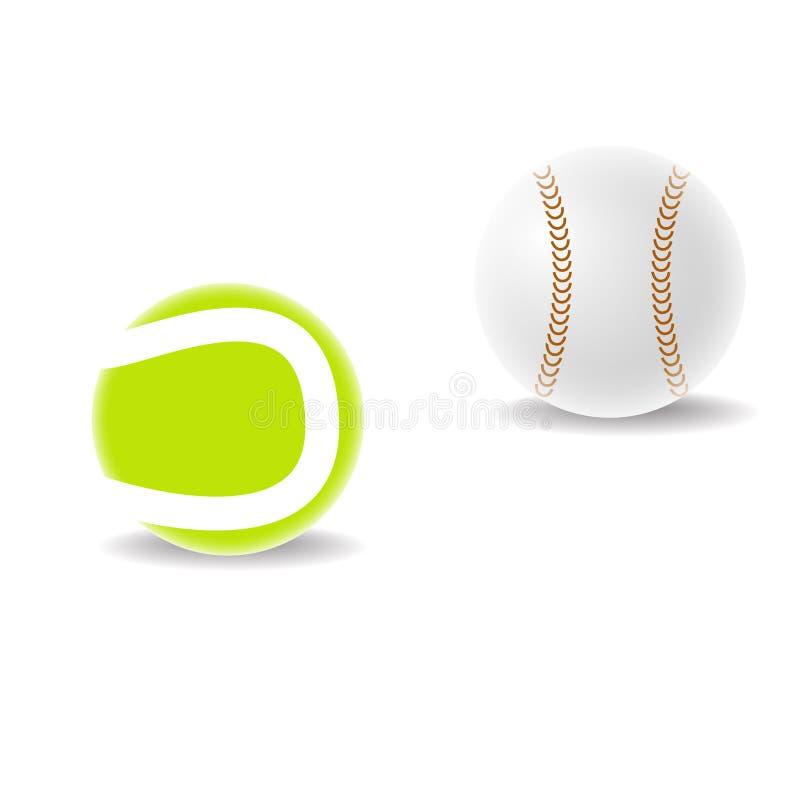 Tenisowa piłka i baseball na bielu zdjęcie stock