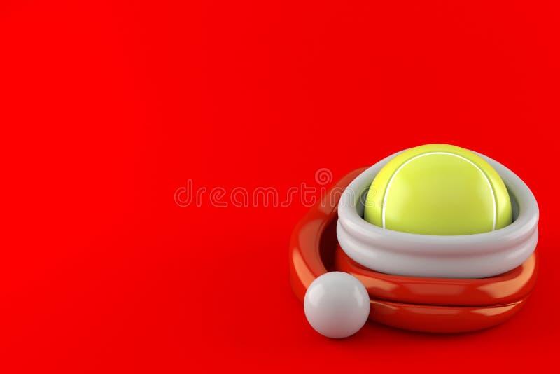 Tenisowa piłka wśrodku Santa kapeluszu ilustracji